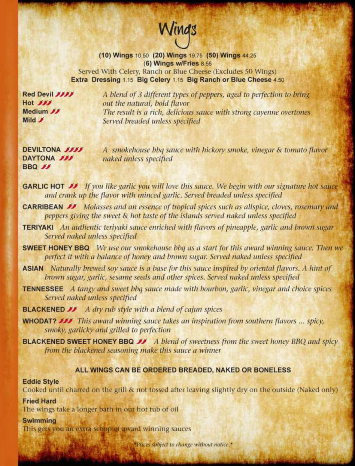 Allsports Cafe Roanoke Menu